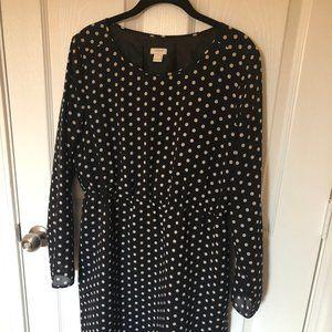 JCREW Black and White Polka Dot Work Dress